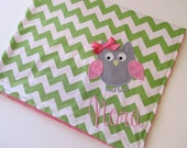 Personalized Baby Blanket- Chevron Baby Blanket- Minky Baby Blanket- Green Chevron Minky Blanket- Owl Applique Baby Blanket- Custom Blanket-
