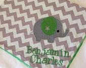 Personalized Baby Blanket 30x35- Minky Baby Blanket- Chevron Minky Blanket- Applique Baby Blanket- Elephant Blanket- Design Your Own Blanket