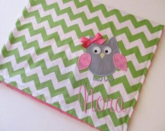 Personalized Baby Blanket- Chevron Baby Blanket- Minky Baby Blanket- Green Chevron Minky Blanket- Owl Applique Baby Blanket- Custom Blanket-