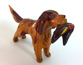 Carved Handmade vintage bird dog holding duck - hunting
