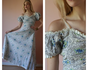 40s Dress / Cotton Maxi Gown / Off the Shoulder  / Wedding Dress / Bridal Party / Garden Party Dress / Size Small sm 0-2