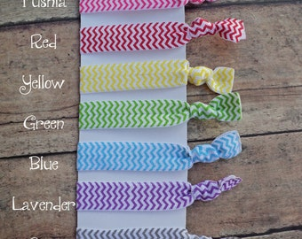 9 Chevron Elastic Hair Ties - No Tug FOE Elastic