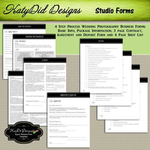 Contract Pricing: INSTANT Download Classic Black WEDDING Photography Business