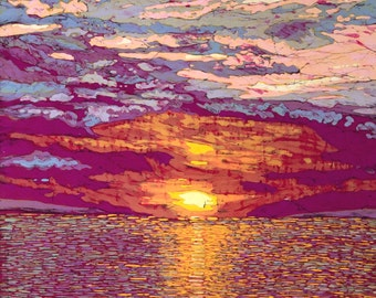 Late August Sunset, Batik Giclee Print by Terri Haugen