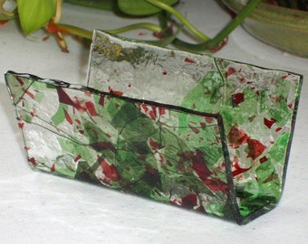 Fused Glass Business Card Holder - Reds1