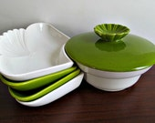 Appetizer Serving Set in Green and White by California Pottery - Vintage, Mid Century, Kitchen, Entertaining Decor