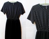 Black and White 1980's Polka Dot Dress- Medium