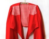 1970's Red Heart Print Jacket - Large