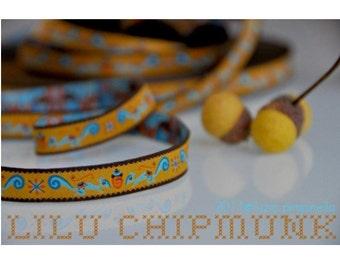 "Jacquard Ribbon Trim ""LILU CHIPMUNK""  from luzia pimpinella 1meter"