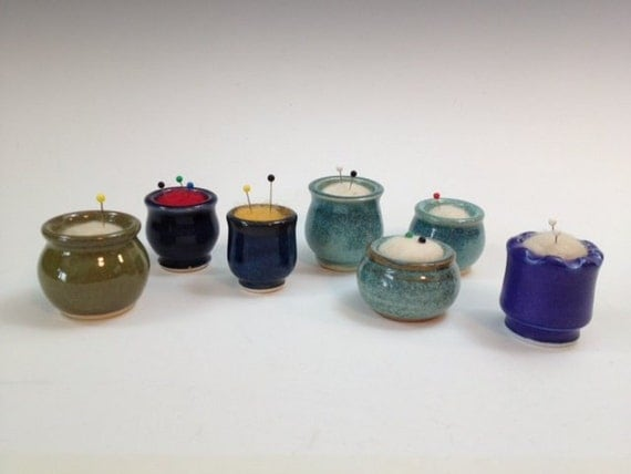 Itty Bitty Pin Cushions - Various Colors - with Needle Felted Wool