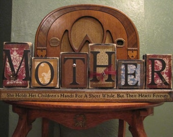 Mom Sign, Mother Gift, Mothers Day Gift, Gift for Mom, Word Blocks