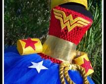 WONDERFULLY CUTE Wonder Woman Inspired Crochet Tutu Dress with Wrist Cuffs, Lariat and Tiara - Girls 10/12