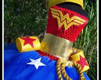 WONDERFULLY CUTE Wonder Woman Inspired Crochet Tutu Dress with Lariat, Wrist Cuffs and Tiara - Large 4-6T