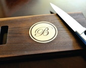 Personalized Cutting Board Inlay Engraved 8x14 Modern Circle Monogram Chopping Block CBIC814