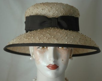Ladies Knotted Sisal Straw Hat with Double Bow