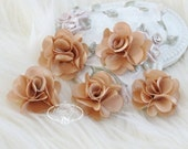 NEW: 5 pcs 24mm BRONZE Brown Teeny Tiny Small Puffy Satin Flowers. applique hair bow, hair accessories