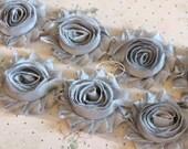 1 one yard  Shiny GREY 2 1/2 inch- Chiffon Shabby Rose Trim, Hair Bow. Chiffon Rosettes