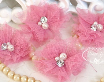 Elena TULLE : 4 pieces PINK MAUVE Small Tulle Mesh Flowers With rhinestone Pearl Center Poof Flowers Hair accessories