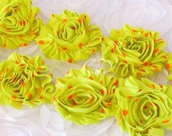 Neon Yellow with Orange POlka DOts Print 2 1/2 inch- 1 yard Chiffon Shabby Rose Trim, Hair Bow. Chiffon Rosettes