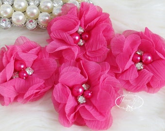 NEW: 4 pcs Aubrey FUCHSIA Shocking Pink - Soft Chiffon with pearls and rhinestones Mesh Layered Small Fabric Flowers, Hair accessories