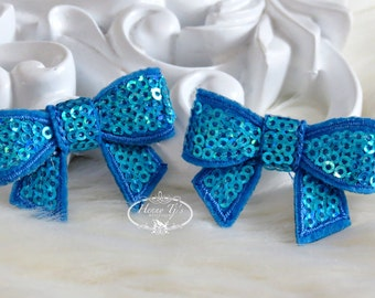 New to the Shop: Set of 4 TURQUOISE Blue Mini Sequin Bow Appliques 2 inch size. Sequin Bow Knot Applique.