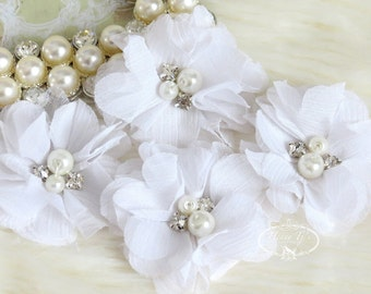 """NEW: 4 pcs Aubrey WHITE - 2"""" Soft Chiffon with pearls and rhinestones Mesh Layered Small Fabric Flowers, Hair accessories"""
