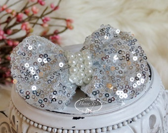 The Evaria - 2 pcs SILVER Sequin Bow Knot with pearls center for Bridal Sashes, Fascinator or Hat Design Appliques
