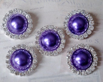 5 pcs - 20mm Silver Metal DARK PURPLE Pearl (no.36) Crystal Rhinestone Buttons Embellishments w/ shank - wedding / hair / Flower Center