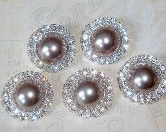 5 pcs - 20mm Silver Metal CHARCOAL Grey Pearl (no.46) Crystal Rhinestone Buttons Embellishments w/ shank - wedding / hair / Flower Center