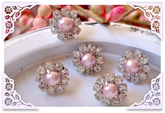 10 pieces - 11mm Mini Crystal Light PINK Pearl Rhinestone Buttons - wedding / hair / dress / garment accessories Flower Center