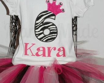 Personalized Blinged Zebra Birthday Tutu Outfit with Monogram Bow and BODYSUIT Size 6 mo 9 mo 12 mo 18 mo 24 mo