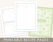 Recipe Binder Set, Printable Pages, Editable PDF, Instant Download