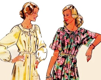 70s Round Neck Raglan Sleeve Tent Dress Pattern Style 2324 Vintage Sewing Pattern Size 12 Bust 34 inches UNCUT Factory Folded
