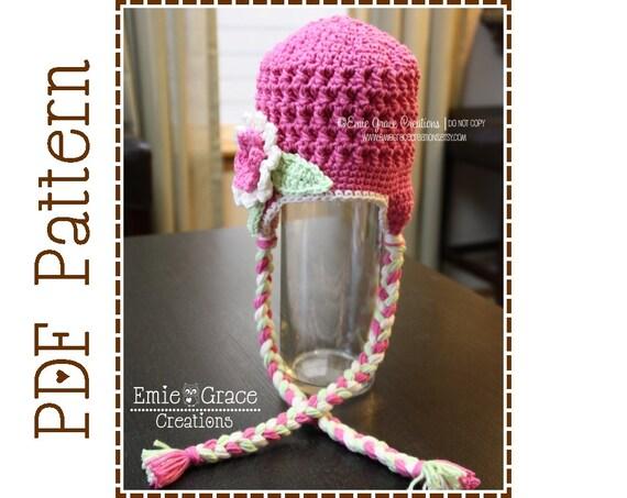 Crochet Flower Hat Pattern, Chunky Ear Flap, SYDNEY - pdf 213