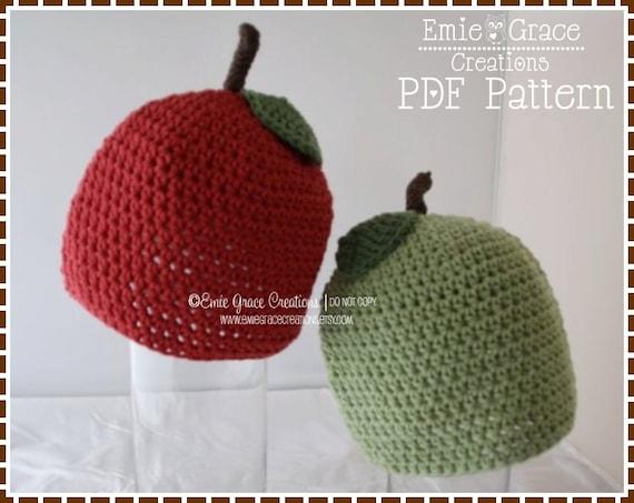 Crochet Apple Hat Pattern, Fruit Beanie, APPLE Of MY EYE - pdf 301