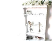 White Country Wall Shelf . Shabby Cottage Chic Decor. Vintage Spoon Rack French Country white