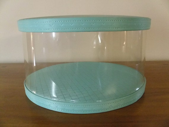 Acrylic Hat Boxes : Reserved vintage quilted turquoise hat box w clear plastic