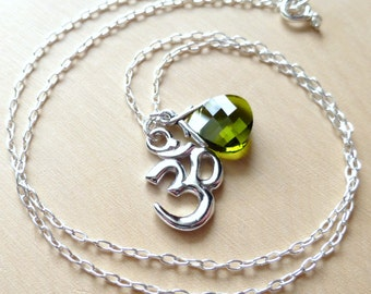 Om Charm Necklace, Ohm Necklace, Olive Green Swarovski Briolette Crystal, Sterling Silver, Gift for Her, Yoga, Aum