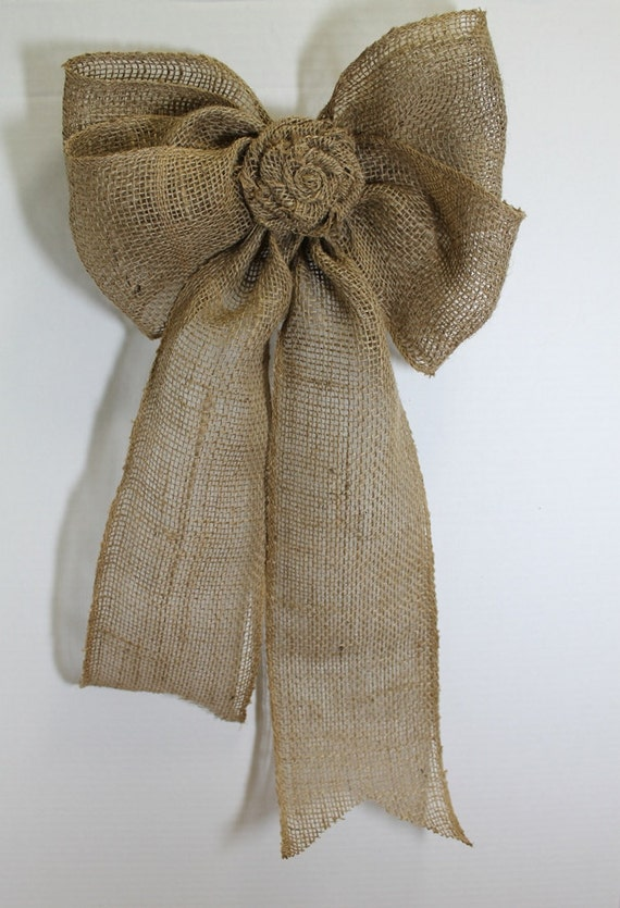 Items similar to burlap wedding bows shabby chic rustic - Bow decorations for weddings ...