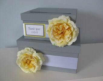 Wedding Card Box, Money Card Box, Custom Made to Order, Gift Card Box Holder, Card Holder, Wedding Money Gift Box, Gray and Yellow