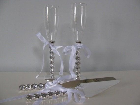 Items Similar To Wedding Cake Serving Set And Toasting Glasses Flute Set With Rhinestones Glam