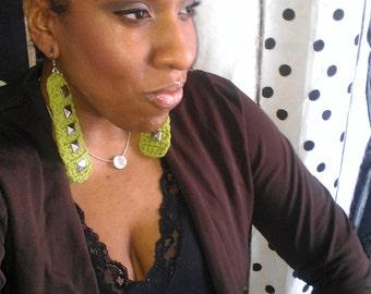 Sour apple studstix crochet earrings by ReBelle