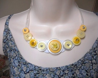 SALE Yummy in Yellow button necklace