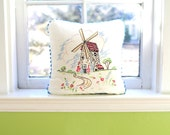 Windmill Embroidery Decorative Pillow Cover - Vintage Textile- Shabby Chic Home Decor - Recycled Shirt Back