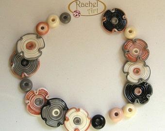 Lampwork Flower Glass Beads, FREE SHIPPING, Set of Handmade Lampwork Glass Disc Beads, Rachelcartglass