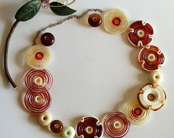 Flowers Lampwork Glass Beads, FREE SHIPPING, Handmade Lampwork Glass Disc Beads - Rachelcartglass