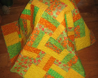 SALE PRICE-Bright Orange Yellow Lime Green Lap Quilt Baby Quilt Baby Boy Toddler Quilt Bright Lap Quilt Flowers Stars Handmade