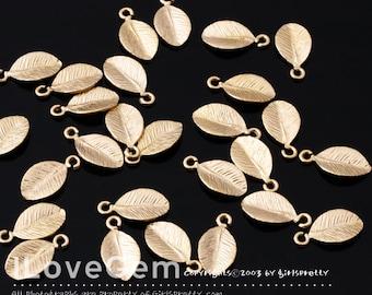 NP-1445 Matt Gold-plated mini leaf  charm, 10pcs