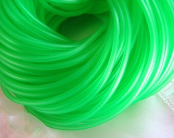 Rubber Cord tube 2mm(0,08in), hole 0,8mm(0,03in), PVC, Light Green- 4,5m/5 yards(1 piece)