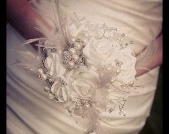 DEPOSIT- Brooch Bouquet - Jeweled Bouquet - Feather Bouquet - Rhinestone Brooch Bouquet - Pearl Bouquet  - Wedding Broach Bouquet